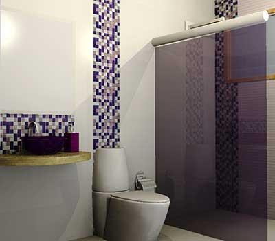 banheiros decorados com pastilhas de vidro