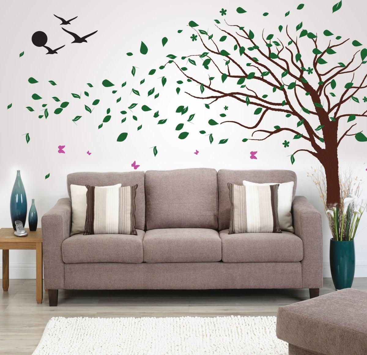 Adesivos de parede para sala de estar saiba como usar for Sala de estar com papel de parede 3d