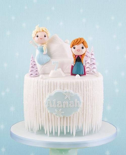 Ana bonita e Elsa no Iceberg congelado o bolo de aniversário