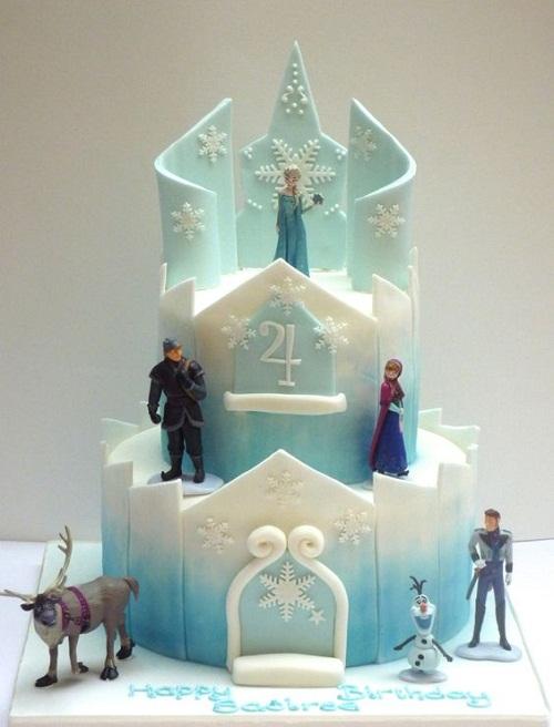 Castelo de Elsa congelado o bolo de aniversário