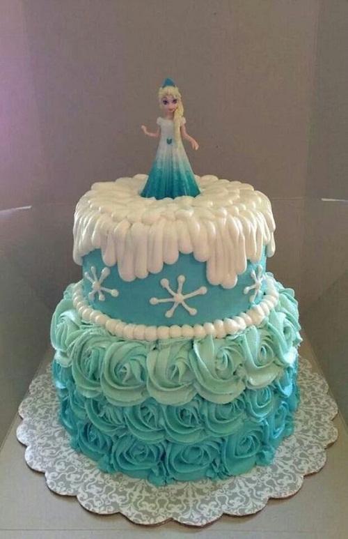 Elsa congelado o bolo de aniversário com flores
