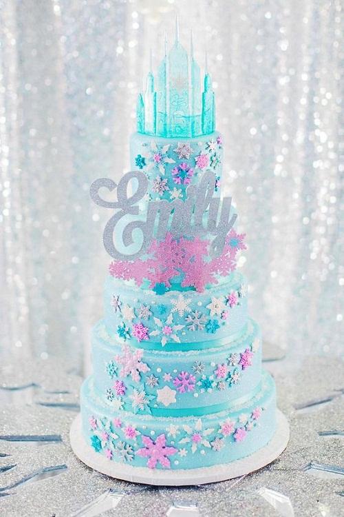 De Elsa bolo de aniversário rosa e azul de castelo