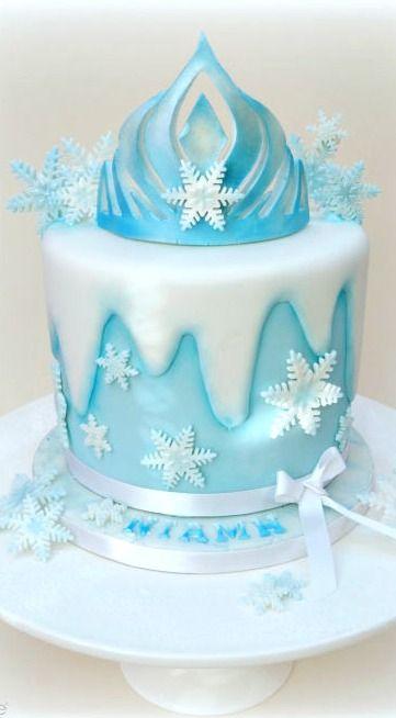 Coroa de rainha Elsa congelado o bolo de aniversário