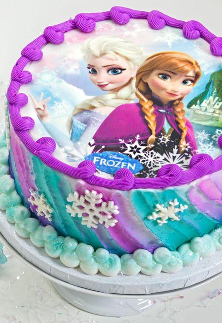 Bolo de aniversário de congelados impressão simples Ana e Elsa comestíveis