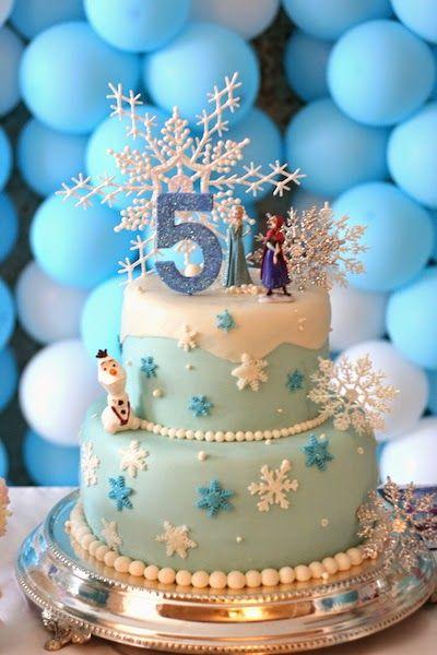 Flocos de neve Ana Elsa e Olaf congelado o bolo de aniversário
