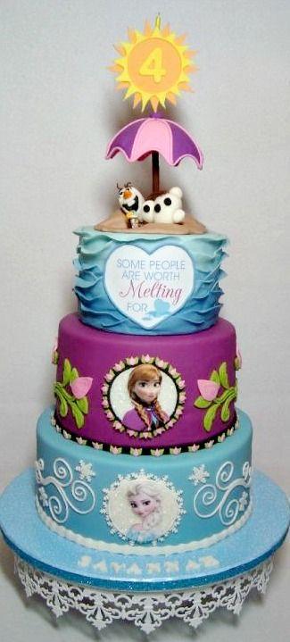 Olaf verão congelado o bolo de aniversário