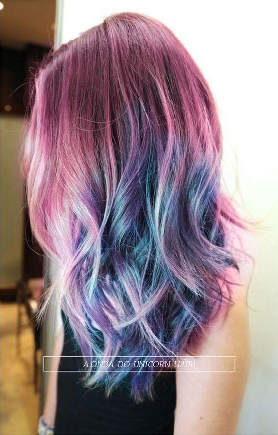 Cores de cabelo feminino efeito colorido