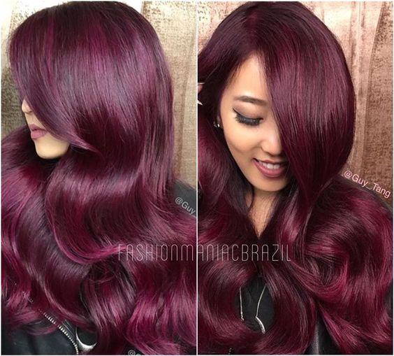 Cores de cabelo feminino marsala