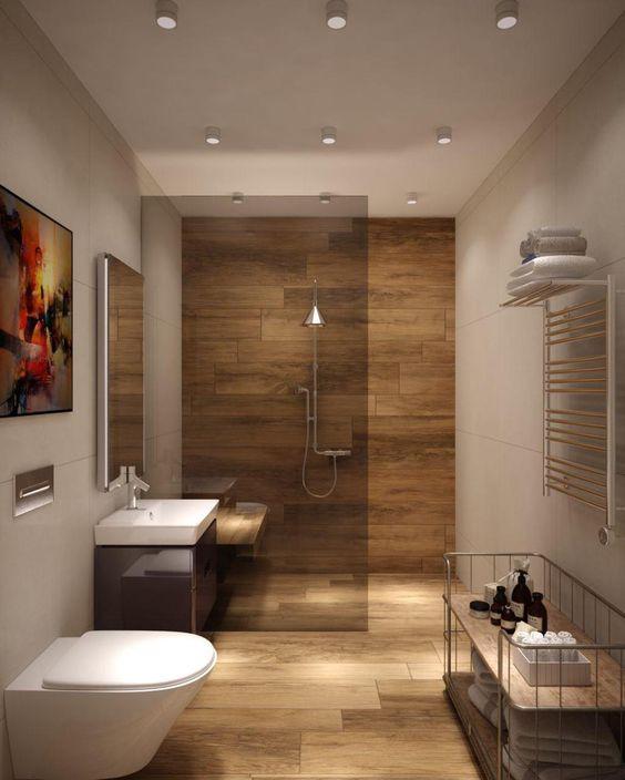 banheiro com porcelanato de madeira