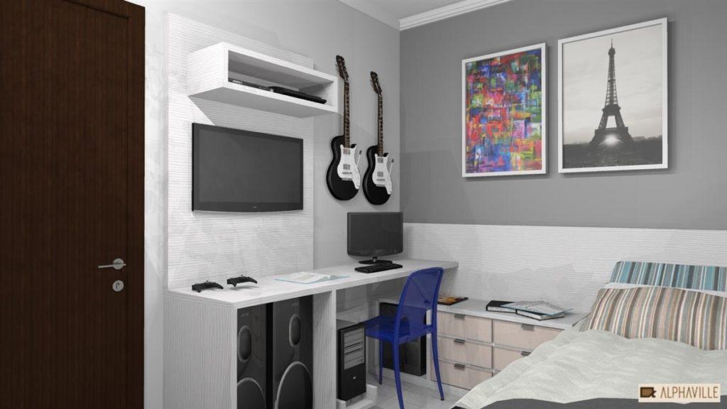Dormitório Masculino de Solteiro: Moderno,  Planejado, Jovem 2